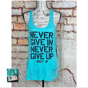 IRON FIST NWT Aqua Never Give Up Racerback Tank